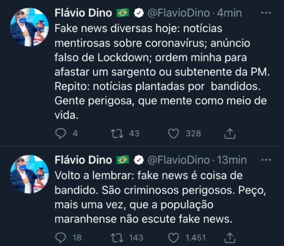 Governador Flávio Dino descarta Lockdown e diz Fake News é coisa de bandido
