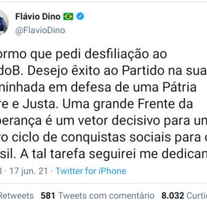 Flávio Dino entrega carta de desfiliação do PCdoB e segue rumo ao PSB